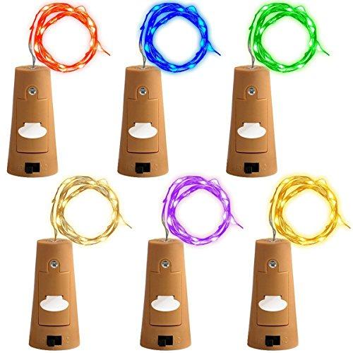 [6-Farben-6 Stück ]Vpsan Flaschenlicht, Weinflasche Kork Licht,LED Lichterketten Batteriebetriebene 2m 20LED-Schnur-Licht mit einem Mini-Schraubenzieher für Flasche DIY Dekor, Garten, Party, Hochzeit (Lichterketten Blau Und Grün)