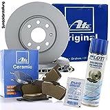 Original ATE Bremsscheiben vorne + ATE Ceramic Bremsbeläge Keramik Bremsklötze Bremsenset Bremsenkit Komplettset Vorderachse + Bremsenreiniger