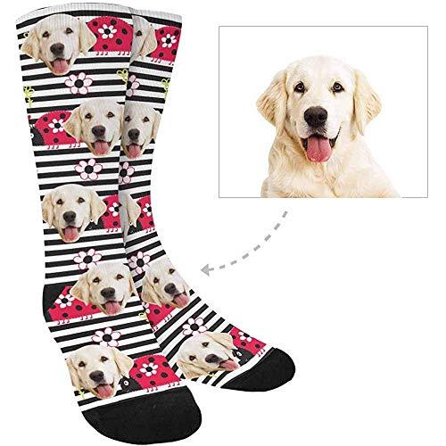 Eybfrre 2 Stück DIY Socken Custom Print Foto Socken, verwandeln Sie Ihr Bild in niedlichen Cartoon-Marienkäfer, Blumen auf Streifen, Crew Socken, Unisex -