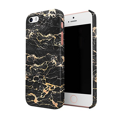 Black Onyx & Gold Strips Marble Print Hard Thin Plastic Phone Case Cover For iPhone 5 & iPhone 5s & iPhone SE