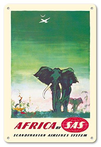 Pacifica Island Art 22cm x 30cm Vintage Metallschild - Afrika - Elefanten - SAS Scandinavian Airlines System - Vintage Retro Fluggesellschaft Reise Plakat von Otto Nielsen c.1958 -