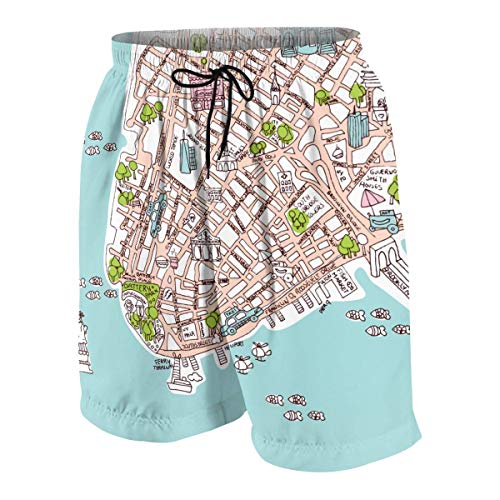 KLYDH New York City Manhattan Map New York City Statue of Liberty Drawing Men Hawaiian Shorts Quick Dry Boxer Brief 3D Printed Elastic Beach Trunks Aloha Short with Pocket(L) - Gator Statue