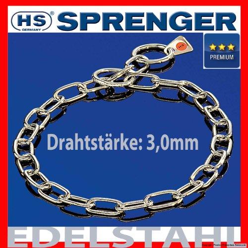 Artikelbild: Kettenhalsband Mediumkette mit 2 Ringen Edelstahl 3 mm für Hunde bis 55 kg (39 cm)