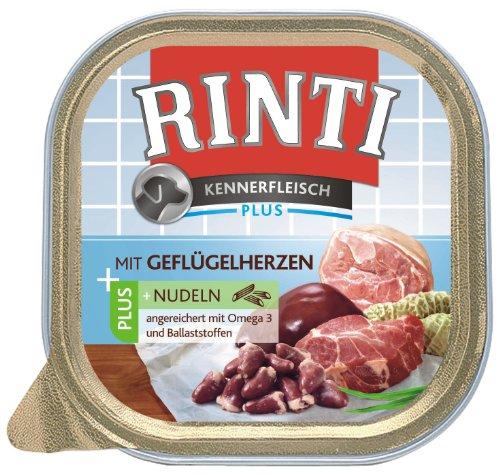 Rinti Kennerfleisch Hundefutter Geflügelherzen & Nudeln 300 g, 9er Pack (9 x - Rinti 400g Hundefutter
