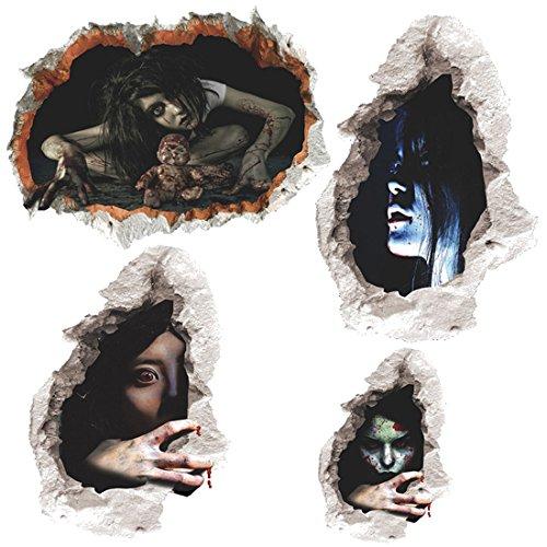 Jiyaru 4 Stück Halloween Deko 3D Wandsticker Wandaufkleber für Zimmer Party (Scary Halloween Websites)