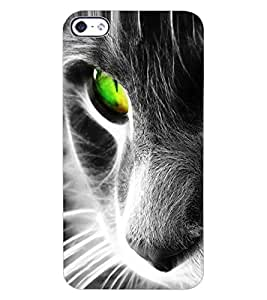 ColourCraft Scary Cat Look Design Back Case Cover for APPLE IPHONE 4