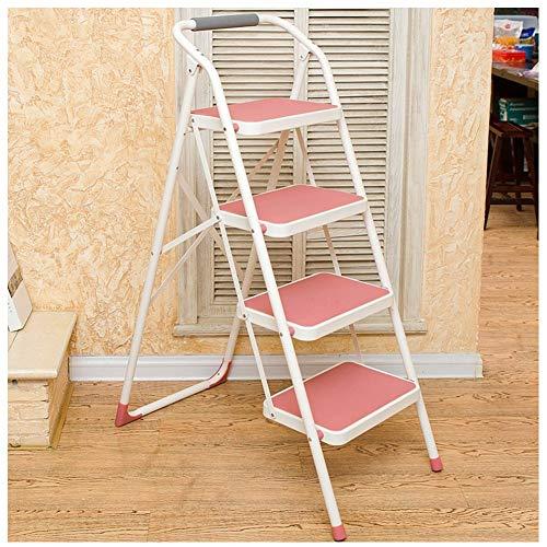 Preisvergleich Produktbild ch-AIR Trittleiter 4-Stufen-Stuhl Tragbare Armlehnen erklimmen die Leiter in Vier Stufen KADJ (Color : Pink)