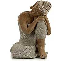 TU TENDENCIA UNICA Figura Decorativa de Buda Plateado descansando. Fabricado en poliresina. 34x43cm