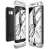 CE-Link für Samsung Galaxy S7 Edge Hülle Hardcase 3 in 1 Handyhülle 360 Grad Full Body Schutz Schutzhülle Hart PC Skin Bumper - Silber + Schwarz