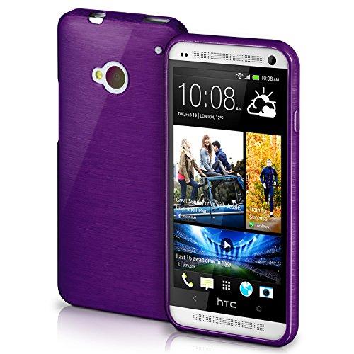 OneFlow Schutzhülle für HTC One M7 Hülle Silikon Case aus 1,5mm dünnem TPU | Zubehör Cover zum Handy Schutz | Handyhülle Bumper Tasche Gebürstet Aluminium Optik in Lila