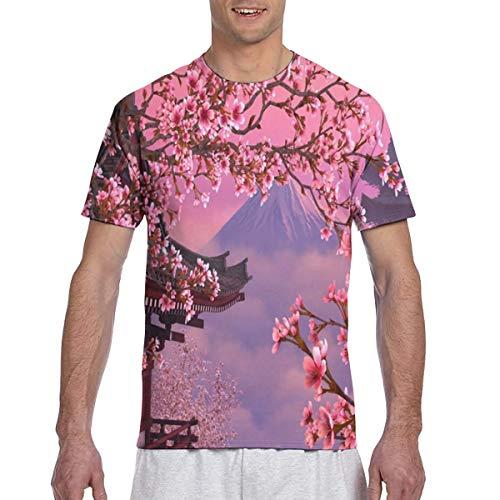 Zhgrong Männer T-Shirts Kirschblüten Blumen Rosa Herren Sportlich Kurzarm T-Shirts Rundhals T-Shirt