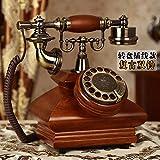 Massivholz Vintage Telefonapparate, Moderne Mode, europäische Antike Telefone, alte Telefone des Amerikanischen Home Office, Retro- Drehscheibe - Doppelte Glocke - hölzerne Farbe