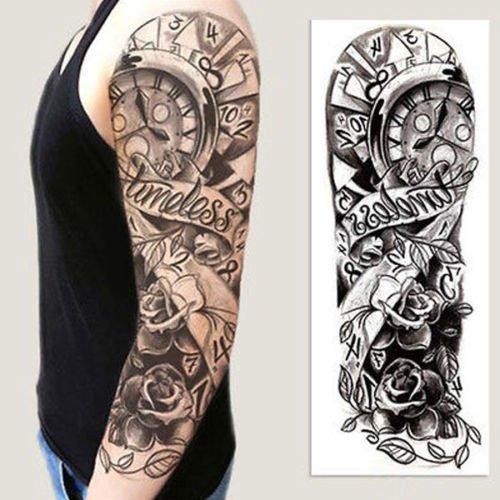 Full Arm Flower Rose Clocks Tribal Tatto Buy Online In Grenada At Desertcart
