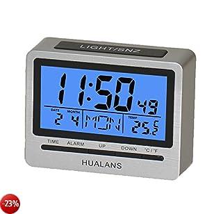 Sveglia Digitale da Scrivania con Funzione Snooze,Hualans Sveglia Retroilluminata da Comodino con Settimana,Temperatura,orario, calendario e la modalità 12/24 ore(escluso la batterie)