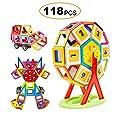 Magnetische Bausteine , FLYTON 118tlg mini Magnetische Bauklötze , Kreative und Pädagogische Spielzeuge für Baby & Kleinkinder ab 3 Jahre Haus Turm Auto mit Räder von FLYTON