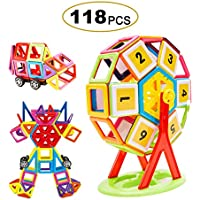 Magnetic Building Blocks,FLYTON 118 Pcs Educational Magnetic Building Tiles Blocks Set,Creative Construction Stacking Toys for Toddlers & Kids With Storage Box