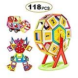FLYTON Magnetische Bausteine 118tlg Magnetische Bauklötze Magnetische Konstruktionsbausteine Konstruktion Blöcke , Kreative und Pädagogische Spielzeuge für Baby & Kleinkinder ab 3 Jahre