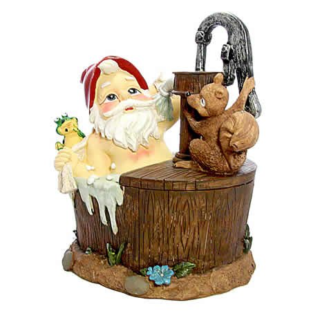 Garden Gnome Ornament in a Bath Tub with Frog and Squirrel | Gnomelands