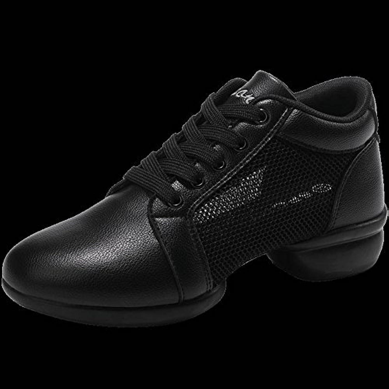 TYERY Zapatos de Baile de Malla Suave con Zapatillas de Deporte Casuales Femeninos Zapatos Aeróbicos, Negro, 41