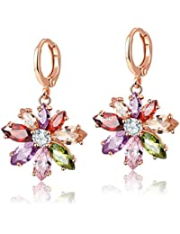 Jewels Galaxy Exclusive Crystal Collection Copper Drop Earring for Women (Multi-Colour)(ERG-1070)