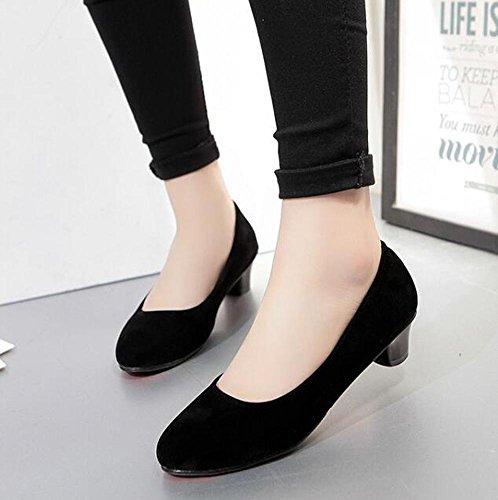 OL Pumpen Büros Wildleder Chunky Low Heel Round-Toe Frauen Casual Hochzeit Vintage Schuhe Europa Größe innerhalb Customized Biger Größe 31-43 Black