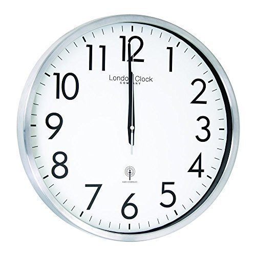 silver-finish-radio-controlled-round-quartz-battery-wall-clock-with-clear-arabic-numbers-42cm-diamet