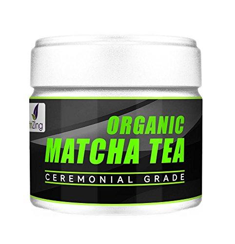 Té Matcha Orgánico, Natural y Vegano NutriZing de Grado Ceremonial Lleno de Antioxidantes ~ Auténtico Té Verde Japonés en Polvo ~ Acelera el Metabolismo, Aumenta la Energía y Mejora la Concentración