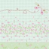 20 Servietten Petty - Traumhafter Frühling türkis / Blumen 33x33cm