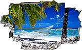 DesFoli Palmen Strand Paradies 3D Look Wandtattoo 70 x 115 cm Wand Durchbruch Wandbild Sticker Aufkleber C254