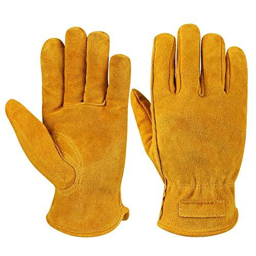 OZERO Arbeitshandschuhe, Lederhandschuhe mit atmungsaktivem Futter,1 Paar -