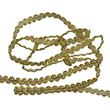 ROSENICE 0.6cm10m Trenzado Cañutillo Recortar Boda Cinta DIY Artesanía adorno Decoración del partido (Oro)