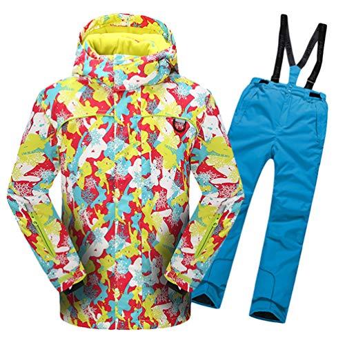 Lvguang Jungen & Mädchen Berg Wasserdicht Warm Skibekleidung Winddicht Regen Schnee Kapuzenjacke & Skihose (Himmelblau#6, Asia L)