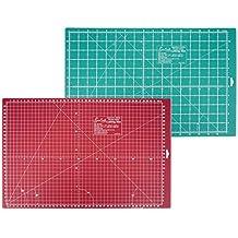 SewEasy Schneidematte, 47 x 30,4 cm (A3) | selbstheilend | mit Hilfslinien, Skalierung cm und inch | Schnittunterlage schont Klingen | Schneide-Unterlage, Cutting Mat für Patchwork | grün-dunkelrote Bastelmatte, hochwertige Bastelunterlage und Arbeitsunterlage | Beidseitig verwendbare Nähunterlage | Sew Easy