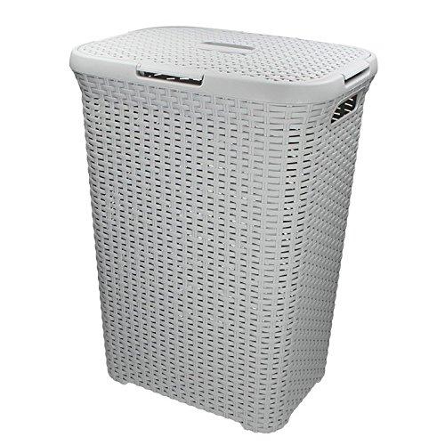 CURVER Caja 60L 45x 34x 62cm Cesto para Ropa Sucia (Cesta ratán Estilo Rectangular Gris Claro
