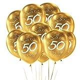 Oblique Unique - Globos con número 50 para cumpleaños, Bodas Doradas, Fiestas, Aniversarios, 10 Unidades, Color Dorado y Blanco