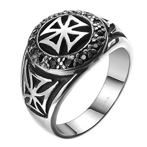 iLove EU anello in acciaio inox Band anello con zirconi argento nero celtico medievale Lich Medioevo Crocifisso Croce Retro motociclisti Biker Uomo e Acciaio inossidabile, 65 (20.7), cod. JNM020173876