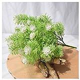no brand CGS2 7 Vert Rose Fourchette Plante Faux Fleur Plante Parfaite for la décoration Couloir Bureau Jardin intérieur de la Maison et à l'extérieur (Color : White)