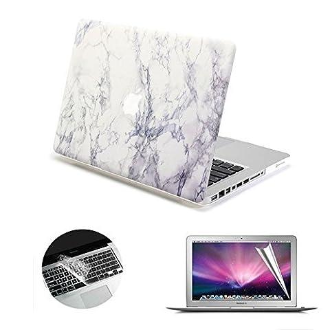 Se7enline Coque rigide douce au toucher en plastique pour MacBook avec protection clavier en silicone noir et protection d'écran LCD transparent Motif cercles noirs Macbook Air 13
