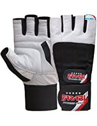 Farabi Genuine Leather Spandax gel padded weightlifting strength training bodybuilding gym fitness workout bar weight lifting home gym weighted gloves with weight lifting grip and straps. (Medium)