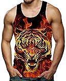 RAISEVERN 3D Tigre Camisetas Impresión Patrón Divertido Gimnasio Tees para Hombres Pequeños