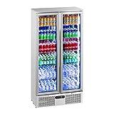 Royal Catering RCGK-458S Getränkekühlschrank Flaschenkühlschrank mit Glastür Standkühlschrank (458 L, 2–10 °C, abschließbare Türen mit Doppelverglasung, LED Beleuchtung, Edelstahl)