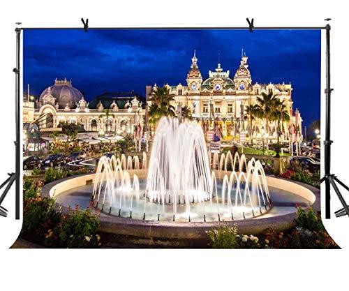 BuEnn 7X5ft Schöne Brunnen Kulisse Schöne Monte Carlo Casino Architektonische Landschaftshintergründe Für Fotografie Fotostudio Hintergrund Requisiten LY097 (Beleuchtung Architektonische)