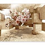 murando - Fototapete 3D 300x210 cm - Vlies Tapete - Moderne Wanddeko - Design Tapete - Wandtapete - Wand Dekoration - optische Täuschung Illusion Blumen Orchidee b-C-0029-a-d