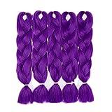 """Cheveux Synthetique pour Tresse [ Lot de 5 ] Glisse & Soft (24""""=60cm, 500g) [Violet Foncé]"""