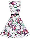 Zarlena Damen Vintage Rockabilly Audrey Hepburn Kleid Petticoat XL weiß/rot-violettes Floralmuster DRAH-PRP-XL