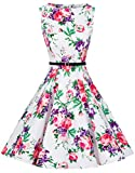 Zarlena Damen Vintage Rockabilly Audrey Hepburn Kleid Petticoat S weiß/rot-violettes Floralmuster DRAH-PRP-S