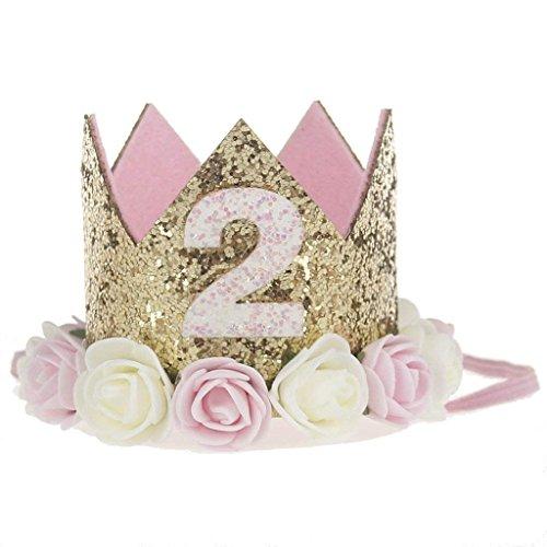 Kodoria Baby Geburtstag Krone 2 Jahre Baby Geburtstag Hüte Gold Blume Tiara Stirnband Geburtstag Party Hut Haarband