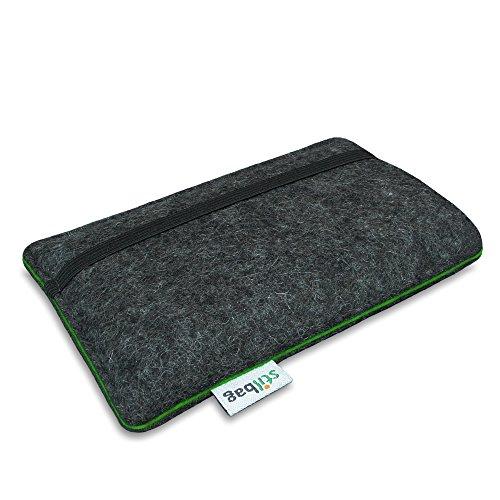 Stilbag Filztasche 'FINN' für Apple iPhone SE - Farbe: hellgrau/mint anthrazit/grün