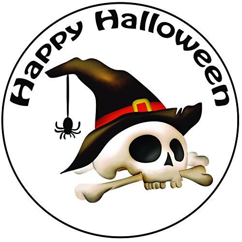 Happy Halloween Totenkopf und Knochen Kuchen Topper–Einem vorgeschnittenen Rund 20,3cm (20cm) Zuckerguss - Halloween Candy Totenkopf Sugar