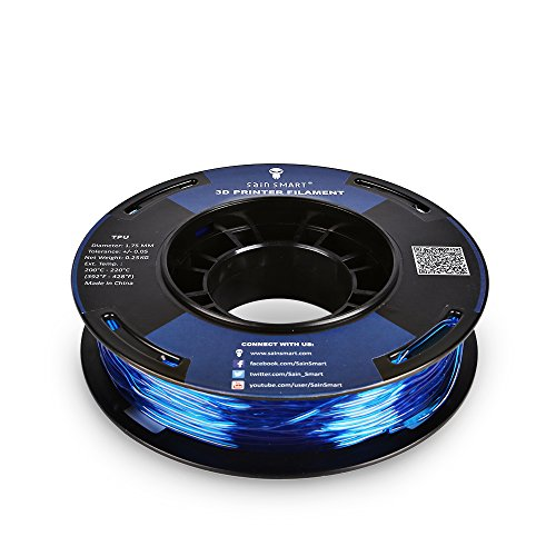 SainSmart 5 Packs Kleine Spule 1.75mm TPU Flexible 3D Filament 250g per Spool, Shore 95A, Weiß, Schwarz, Rot, Blau, Grün - 5